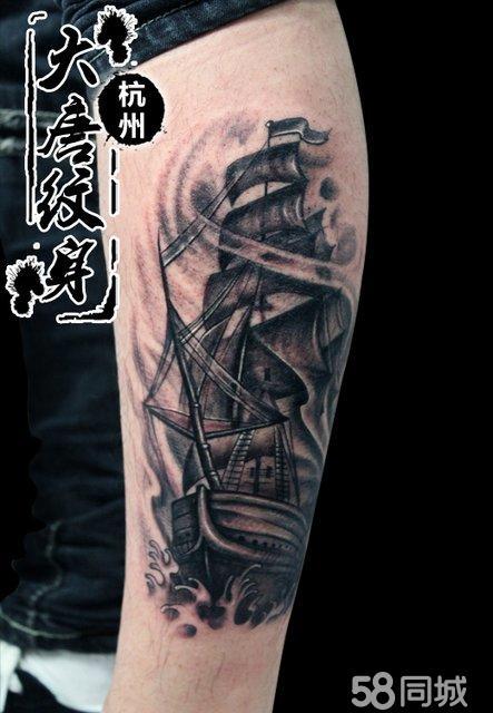 小腿纹身 帆船纹身 纹身图案 纹身图片