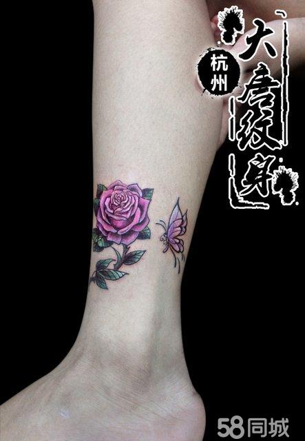 小腿纹身 玫瑰花纹身 纹身图案 纹身图片