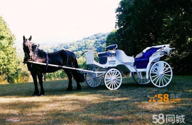 豪华白色欧式敞篷婚礼马车