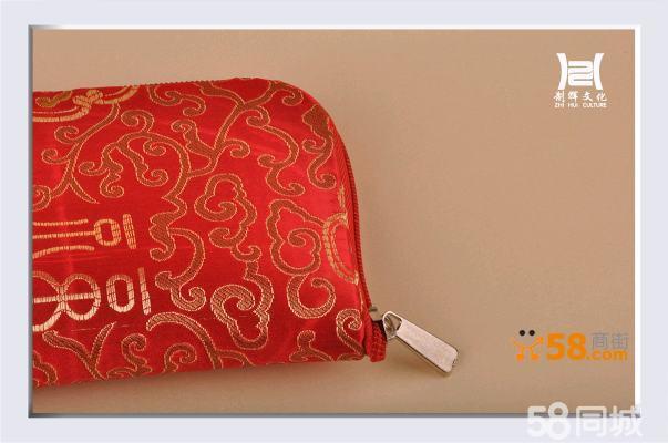 中国风祥云图文刺绣绸缎平绒面鼠标垫布艺钱包